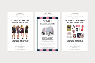 Newsletter design and regular website updates / Jack Wills inhouse